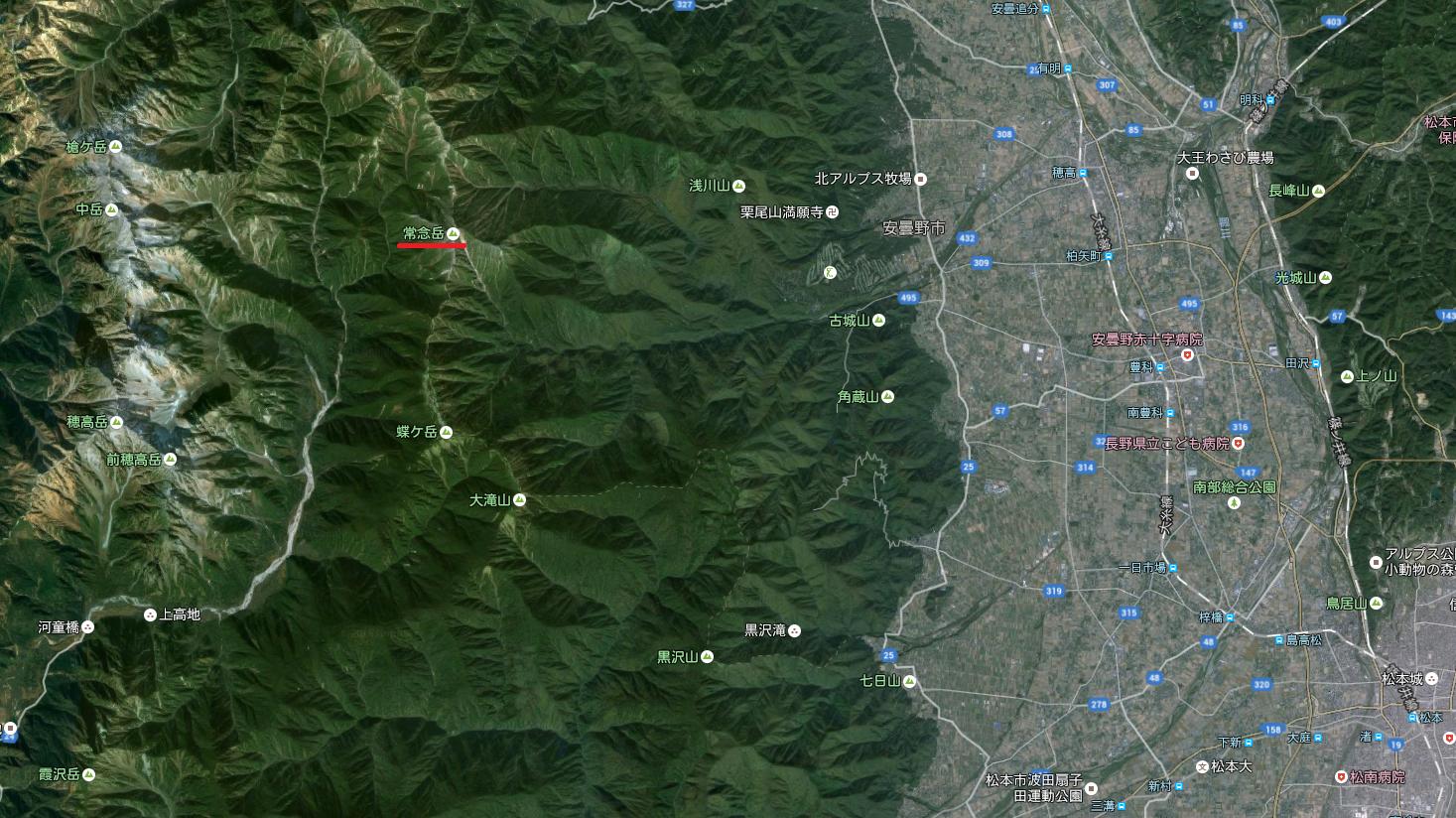 常念岳(Google マップ)